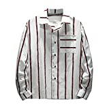 Faionny Clearance Sale Mens Striped Print Lapel Shirt Autumn Fashion Tops Long Sleeve Button Blouse