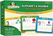 Channie's Dry Erase Alphabet/Number Flash Cards, 5.5W x 4.25 L x 0.25H, White, Model: