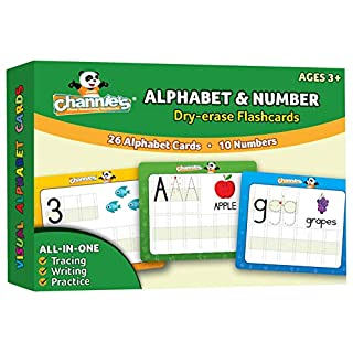 Channie's Dry Erase Alphabet/Number Flash Cards, 5.5W x 4.25 L x 0.25H, White, Model:B500