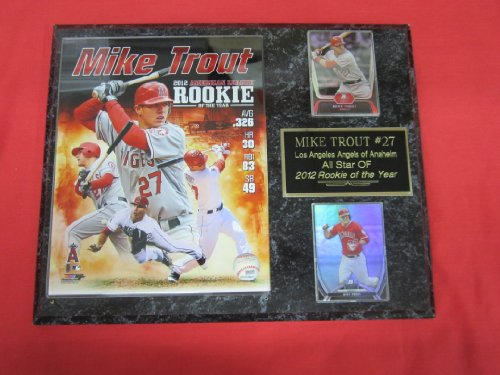 Angels Baseball Memorabilia - Mike Trout Anaheim Angels 2 Card Collector Plaque w/8x10 ROOKIE of the YEAR Photo!