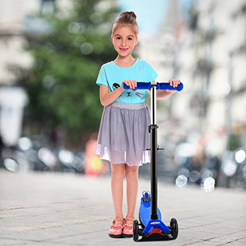 Extra-Wide Deck PU Flashing Wheels for Children 3-12 Years Old Hikole 3 Wheeled Scooter for Kids Toddlers Girls /& Boys with Adjustable Lean-to-Steer Handlebar