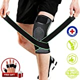 Knee Brace, Compression Knee Sleeve with Strap for Best Support, Free Gift for Finger Sleeves (5 Parks) Patella and LCL Knee Brace Stabilizer for Basketball Running Durable Knee Brace for Women & Men
