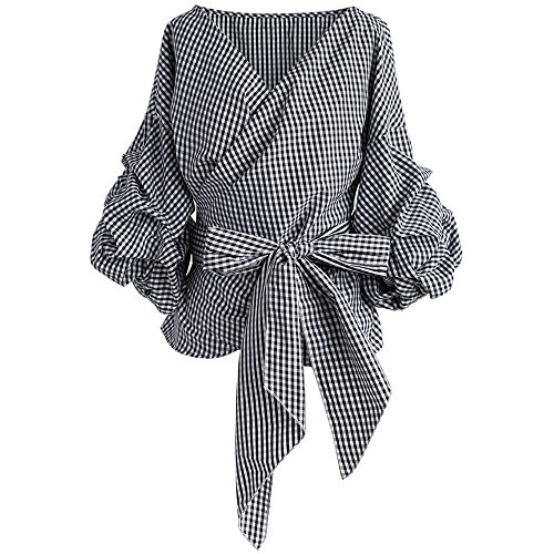Chicwish Women's Black Gingham V Neck Bowknot Wrapped Shirt Blouse Top with Ruche (Bubble Sleeve)