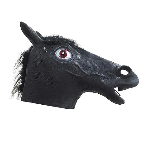 disegni attraenti vendita economica miglior grossista Amosfun Halloween Black Horse Head Mask Maschera in Lattice ...