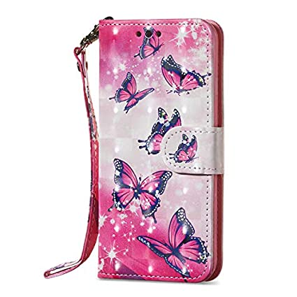 WANYINGLIN Colorful Cute Bling Glitter 3D Floral Animal Wallet Leather Stand Function Flip Kickstand Magnetic Book Card Slot Holder Protective Cover Compatible with for Samsung A8 Plus 2018