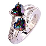 Ring For Women, Hot Clearance Sale Manadlian Fashion Lover Jewelry Heart Cut Rainbow & White Topaz Gemstone Silver Ring (Multicolor, O)