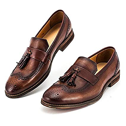 903765f54ed11b Image Unavailable. Image not available for. Color  Ruanyi New Genuine  Leather Tassel Slip On Loafers Casual Shoes Moccasins Vintage Handmade Shoes  for Men