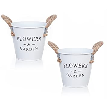 Amazon Small Round Galvanized Metal Buckets Planters Flower