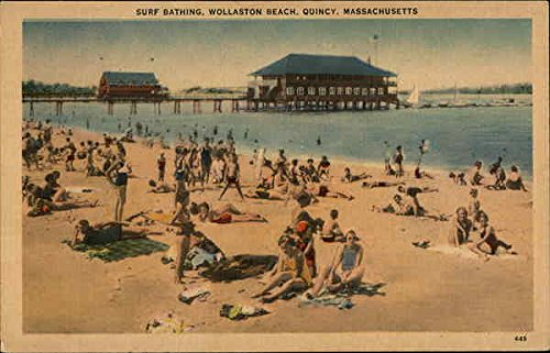 Surf Bathing, Wollaston Beach Quincy, Massachusetts Original Vintage Postcard by CardCow Vintage Postcards