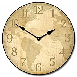 Parchment World Map Wall Clock, Available in 8 Sizes, Most Sizes Ship 2-3 Days, Whisper Quiet.