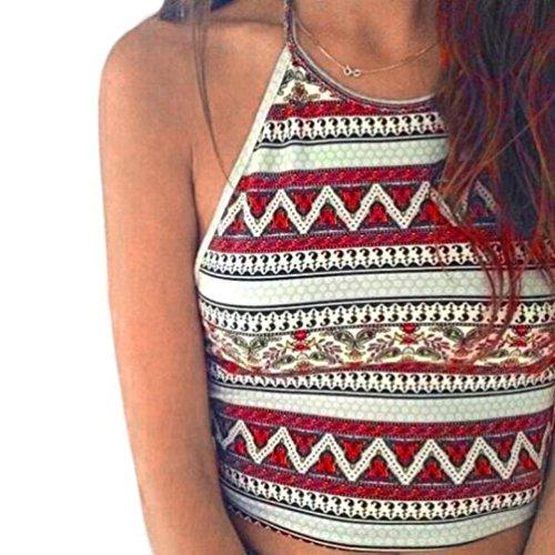 Price comparison product image Women's Vest,Neartime Boho Tank Tops Bustier Bra Vest Crop Bralette Shirt Cami (S, Red)