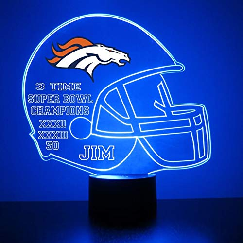 Mirror Magic Store Denver Broncos Football Helmet LED Night Light with Free Personalization - Night Lamp - Table Lamp - Featuring Licensed Decal