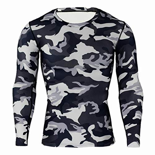 kaifongfu Running Tops,Camouflage Tights Men Quick-Drying Top Long Sleeve Breathable Muscle Tops(Gray,XL)