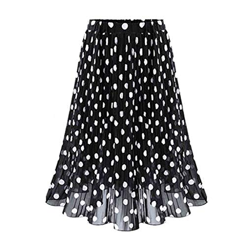 Sayhi Polka Dot Long Skirt Womens Pleated High Waist Midi Skirt Elastic Waist Skirt Long Summer Skirts for Women(Black,L)
