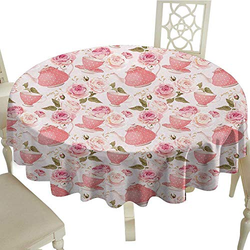 longbuyer Round Tablecloth Vinyl Floral,Vintage Tea Cups with Roses Romantic Shabby Chic Elegance Design,Light Pink Coral Fern Green D54,for 40 inch Table ()
