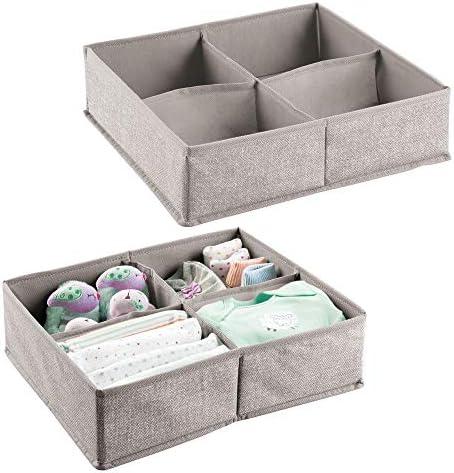 - Organizador de juguetes y articulos de beb/és toallitas Color: topo//natural etc Caja organizadora con numerosos compartimentos para pa/ñales mDesign Juego de 2 organizador para beb/és