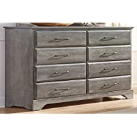 Carolina Furniture Works 535800 Dresser with Tall 8 Drawer, Vintage Gray