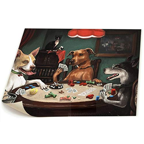 Play Dog Poker (Baker Back Dog Play Poker 19x22in Canvas Picture Poster Art Wall Poster Creative Artist Painting Print for Living Room Kids Room Decorations Wall Artwork)