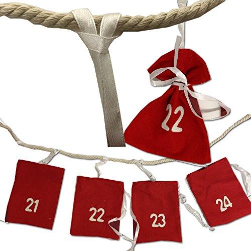 JEMIDI XXL 3,30m Adventsgirlande Adventskalender zum selbst Befüllen Advent Kalender Kette Weihnachtskalender (Adventsgirlande XXL)