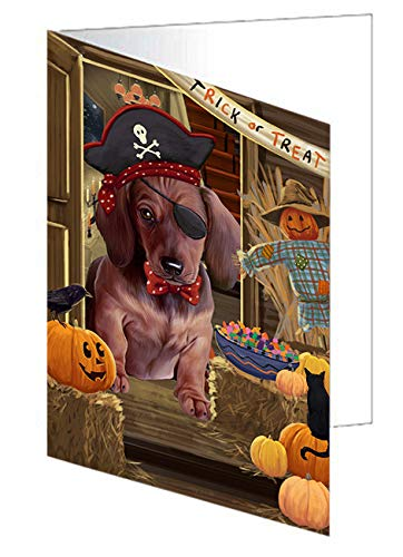 Enter at Own Risk Trick or Treat Halloween Dachshund Dog Note Card NCD63347 (20)]()