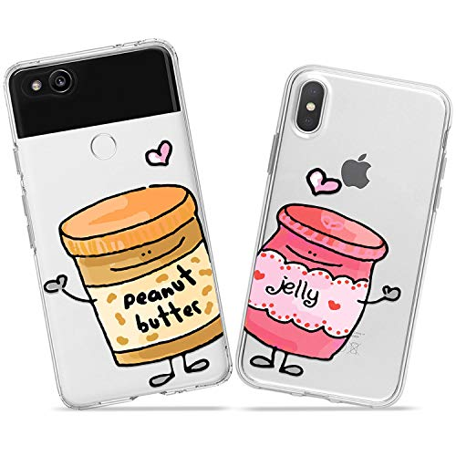 Wonder Wild Jelly and Peanut Butter Couple Case iPhone Xs Max X Xr 10 8 Plus 7 6s 6 SE 5s 5 TPU Clear Gift Apple Phone Cover Print Protective Double Pack Silicone Jar Can Love Hearts Cute Cartoon