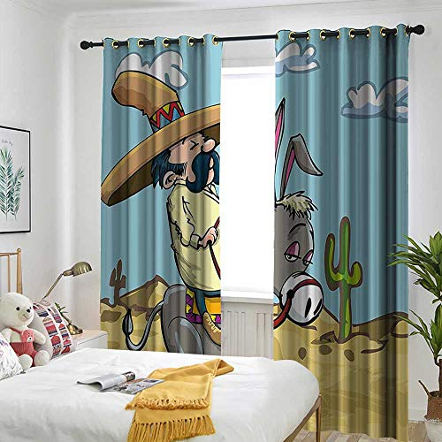 """AndyTours Cartoon Thermal Insulated Blackout Curtains Mexican Man Wearing Sombrero Hat Riding a Donkey in The Desert with Cactus Plants Simple Stylish 72"""" W x 96"""" L Multicolor"""