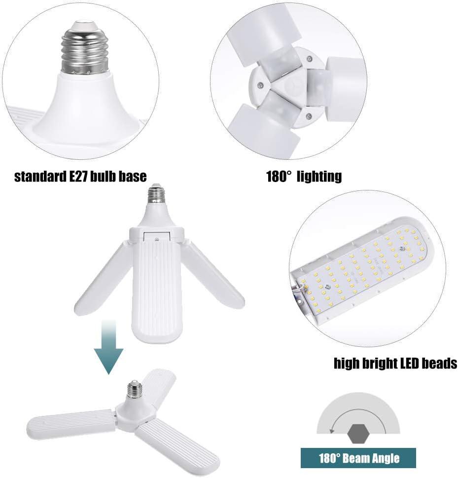 Lilideni AC 95-265V Ventilador Plegable Aspa Bombilla E27 2//3//4//5 Ventiladores Luces de Techo para Garaje /Ángulo de iluminaci/ón LED Ajustable Luz para decoraci/ón de Interiores