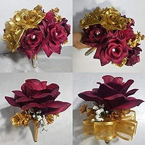 Burgundy Gold Rose Hydrangea Bridal Wedding Bouquet & Boutonniere 17