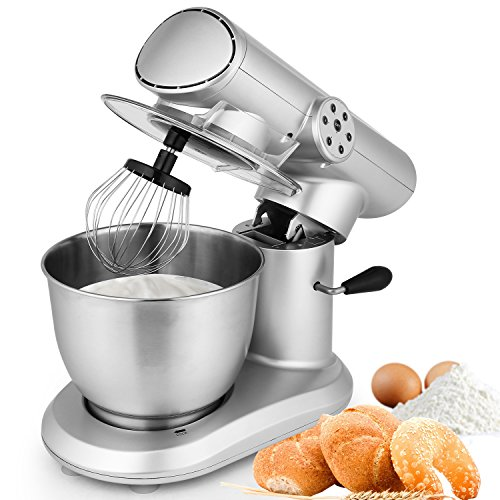 Stand Mixer, 650W 6-Speed 5L Stainless Steel Bowl, Tilt-Head Food Mixer Kitchen Electric Mixer with Dough Hooks, Wire Whip, Flat Beater (650W_Sliver)