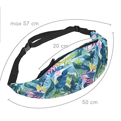 Outflower Waist Pack Bags Floral Printing Women Casual Bag for Outdoors Sports Workout Traveling