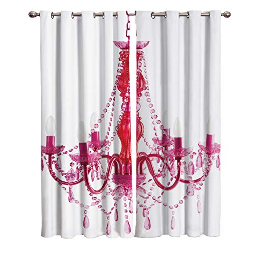 FunDecorArt Blackout Curtains, Russian LightCandle Chandelier Polyester Shade Curtains, 2 Panel Drapes/Window Treatment for Bedroom/Living Room/Office/Teen Room, 104 W x 52 L inches