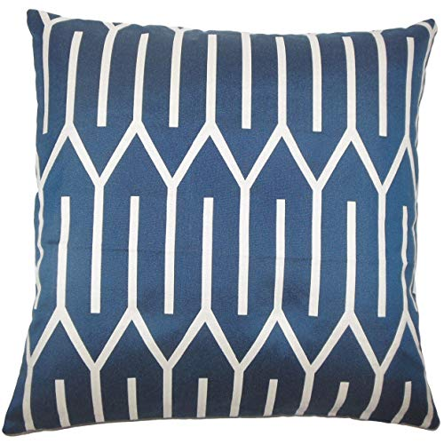 The Pillow Collection Talasi Geometric 24 x 24 Feather Throw Pillow Lapis