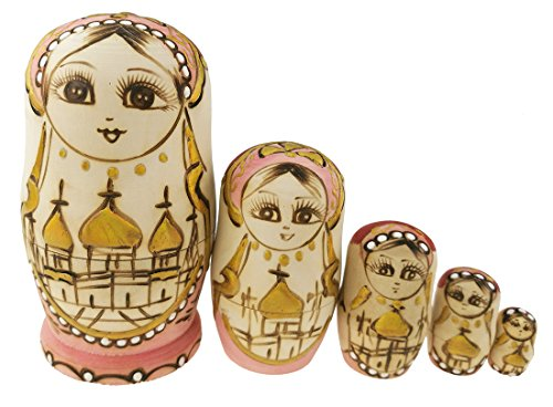 Golden Castle (Set of 5 Cutie Lovely Golden Castle and Flower Wooden Nesting Dolls Matryoshka Russian Doll Popular Handmade Kids Girl Gifts Toy)