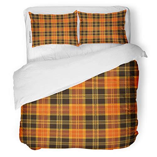 SanChic Duvet Cover Set Brown Pattern Halloween Tartan Plaid Orange Autumn British Decorative Bedding Set with Pillow Case Twin Size ()