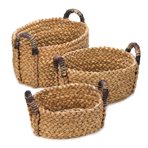 Cattail Wire Mesh - Accent Plus Storage Basket With Handle, Organizer Baskets, Made Of Straw (set Of 3)