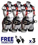 Guardian Fall Protection 11171 XL-2XL Seraph Construction Harness with Side D-Rings (3 Units) FREE Trauma Strap