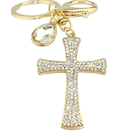 Holy Cross with Rhinestone Sparkling Charm Blingbling Keychain Crystal Pendant