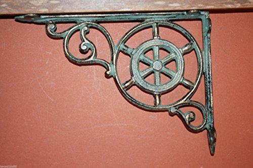 "Southern Metal Ships Wheel Shelf Brackets Antique-style Maritime Bronze-look Cast Iron 9"" x 6 3/4"", Volume Priced Set of 8 B-31"