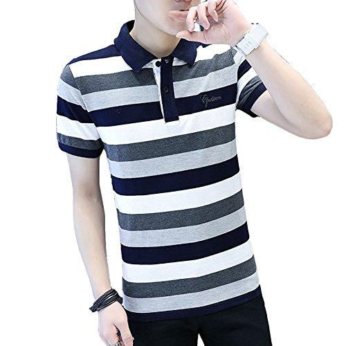 アシスタントバンク防衛(ハイハート) Hiheart シャツ メンズ 半袖 ラガーシャツ ボーダー柄 シャツ ゴルフウェア 通気性 吸汗速乾 大きいサイズ