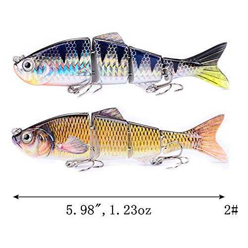 DOITPE Lifelike 4 Segment Big Giant Sinking Fishing Bass Lures Artificial Hard Bait Swimbait with Treble Hooks Fish Tackle Kits in Freshwater and Saltwater,10Inch/4.76oz (Combo-BC)
