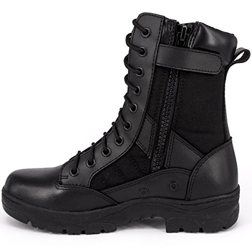 WIDEWAY Men's 8'' inch Military Tactical Boots Full Grain Leather Police Duty Water Resistant Boots with Side Zipper - stylishcombatboots.com