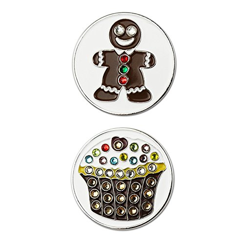 PINMEI USA Bling Gingerbread Cookies Golf Ball Marker, Fit in Hat Clip or Divot Tool with Magnet Golf Gift (Gingerbread & Cupcake)