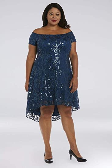 Short Sequin Lace Off-The-Shoulder Plus Size Prom Dress ...