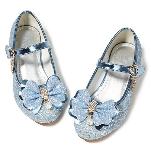Waloka Kids Girl Princess Shoes Wedding 4T Blue Sequins Little Flower Girls Mary Jane Glitter Shoes Size 10 4 Yr Cute Toddler Girls High Heels Shoes Cosplay Dress up Bridesmaid ( 03Blue 28