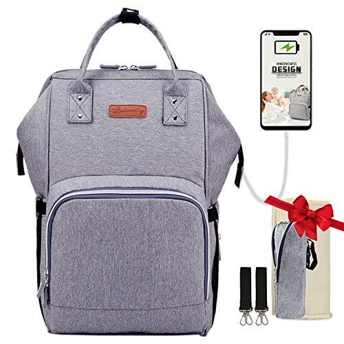Baby Diaper Bag Backpack,Ankomswiss Baby Bags Waterproof Organizer for Mom/Dad with Stroller Straps,Changing Pad,USB Port,Insulated Pockets Suit 4-9oz Bottles,Large Capacity and