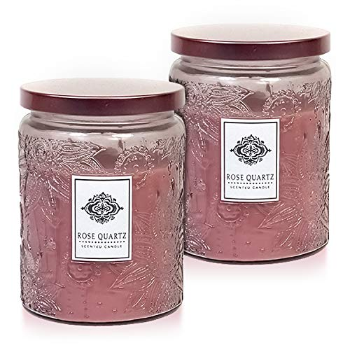 Dynamic Collections Aromatherapy Scented Candles - Great for Minimalistic Home Decor, Stress Relief, and Gift Set of Two 16 Ounce Mason Jar Candles (Rose Quartz) ()