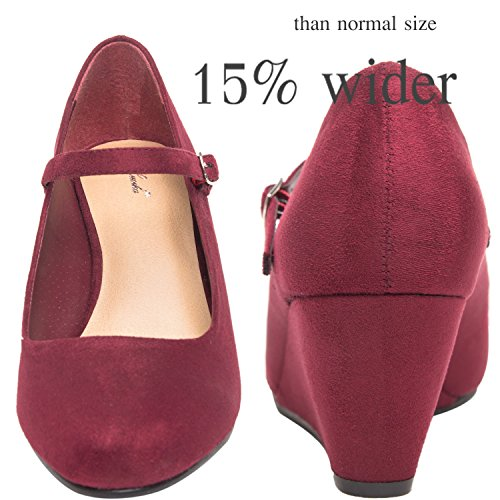 Image of Luoika Women's Wide Width Wedge Shoes - Ankle Strap Mary Jane Dress Shoes Heel Pump