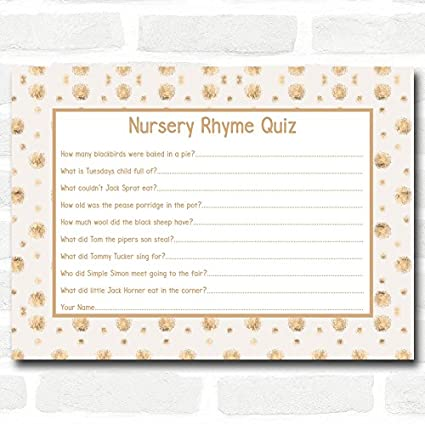 Amazon Com Neutral Gold Spots Baby Shower Games Nursery Rhyme Quiz