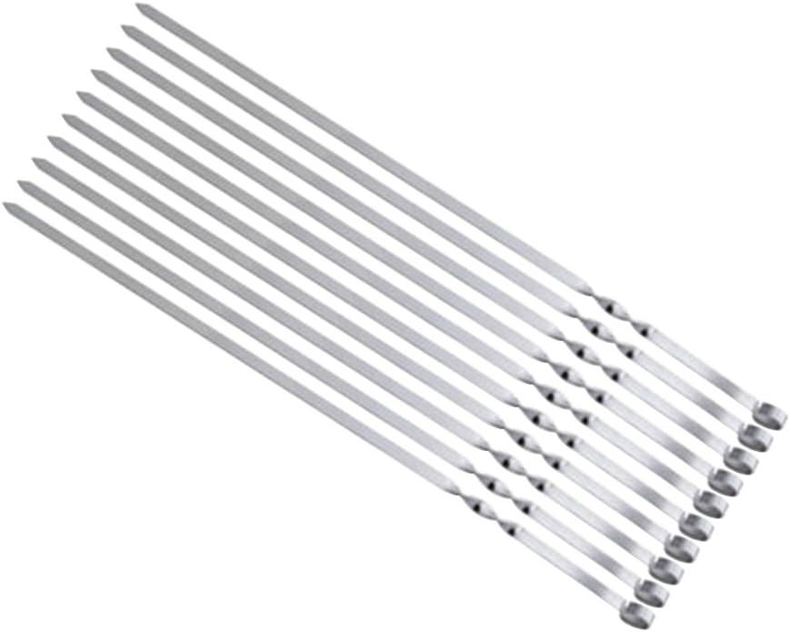 Toyvian Stainless Steel BBQ Skewer Set Reusable Utensil Fork Kebob Skewers 10pcs Grilling Sticks Barbecue Roast Needles