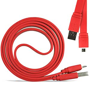 Samsung Galaxy Fame S6810 Super Fast de 1 metro de transferencia de datos USB Flat Sync cable cargador (rojo) Por Spyrox